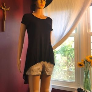 Black T with chiffon flow back
